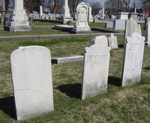 Lancaster Cemetery, Abraham and Catharine Cole's headstones