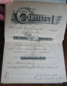 Marrriage Certificate signed by Jeremiah Mark Carvell