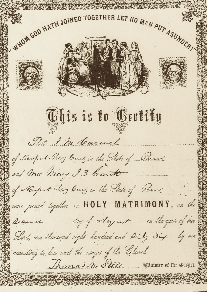 Marriage Certificate for Jeremiah M. and Mary Jane Z. Carvell